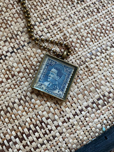 Vintage Stamp Pendant Necklace - Iraq