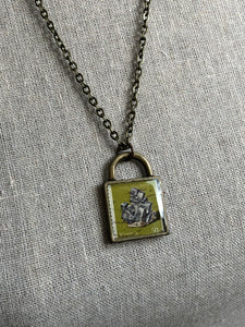 Vintage Stamp Pendant Necklace - Africa, Kenya