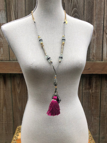 Gemstone Hamsa Necklace in Fuchsia & Black