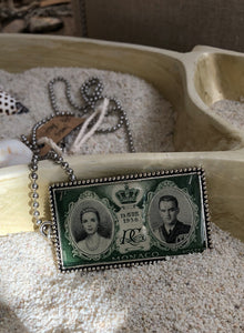 Vintage Stamp Pendant Necklace - Monaco