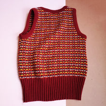 Vintage Kids Brown, Green+ Yellow Patterned Tank Top 4-6 Y
