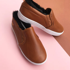 AKID Liv Brown Fluffy Unworn Slip-ons UK 12, UK 13