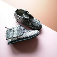 Brand New AKID Snakeskin Grey Moccs Stone Shoes - UK 8 infant - Designer