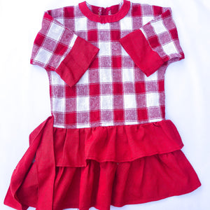 Vintage French 70s NOS Deadstock Red White Checked Smock Dress 5 6 7 Y