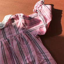 Vintage Children's Eastern European Pink Grey Striped Smock 6M