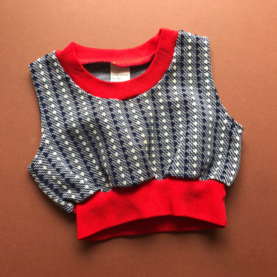 Vintage Baby French Abstract Top 0-6 M