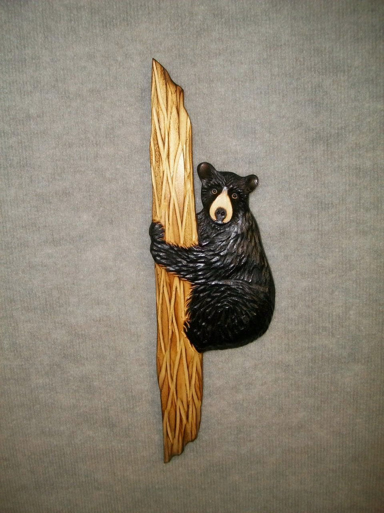 Old black forest hand carved wood plaque antlers wood carving bear