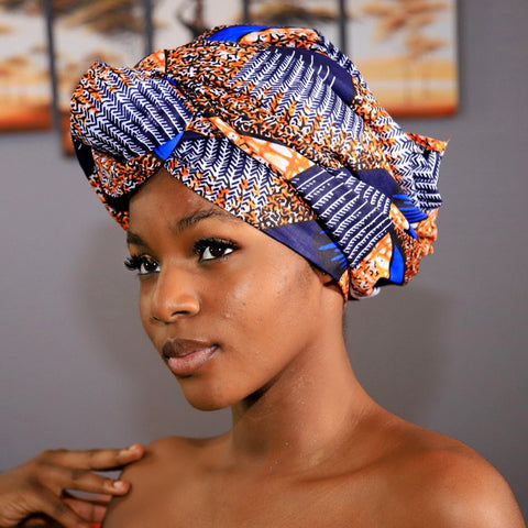 African Queen with Ankara and Kente Head Wrap