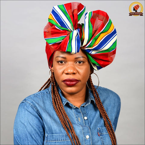 African Red Kente Head Wrap