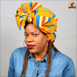 African Traditional Gold Kente Head Wrap