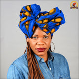 Ankara Blue Peacock Head wrap