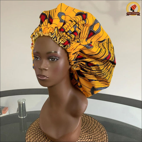 Ankara Gold Peacock Bonnet double sided