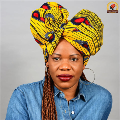 Ankara Gold Peacock Head Wrap