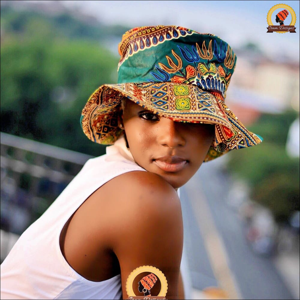Green Dashiki Sun Hat