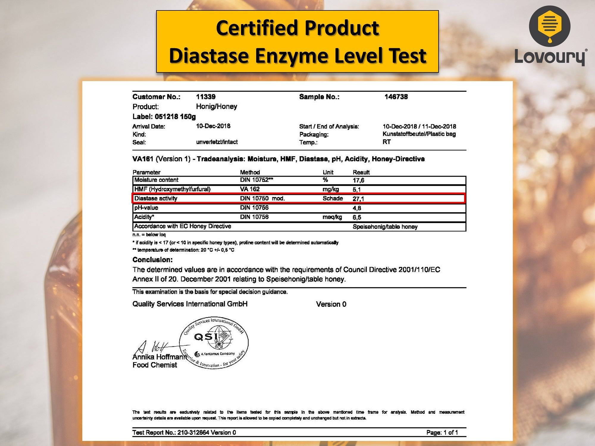 Certification Diastase Enzyme Activity Level