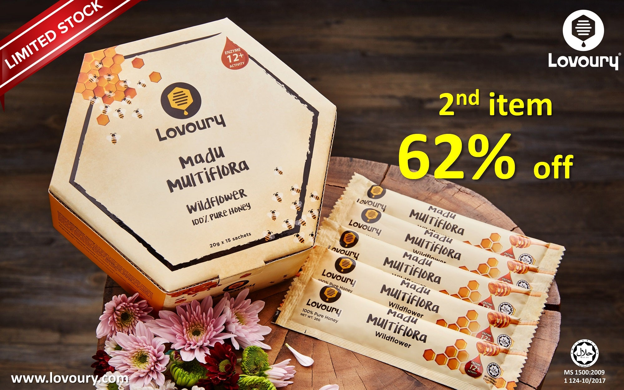 Lovoury Wildflower Honey @ 300g Sachets sale