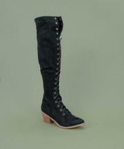 1812 black Knee-High Lace Up Boot