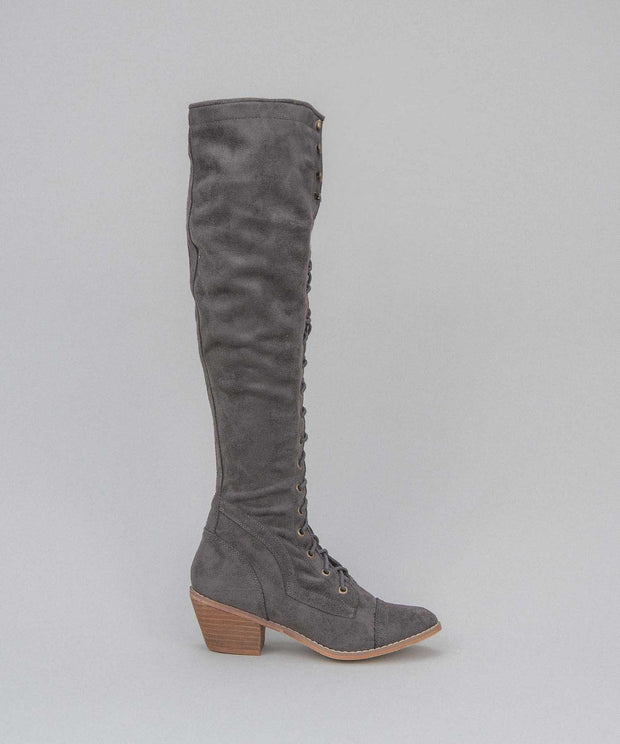 1812 charcoal Knee-High Lace Up Boot