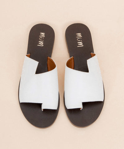 Addison white Contemporary Faux Leather Slides