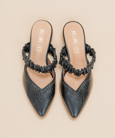 The Alicia black Pointed Ruffle Strap Mules