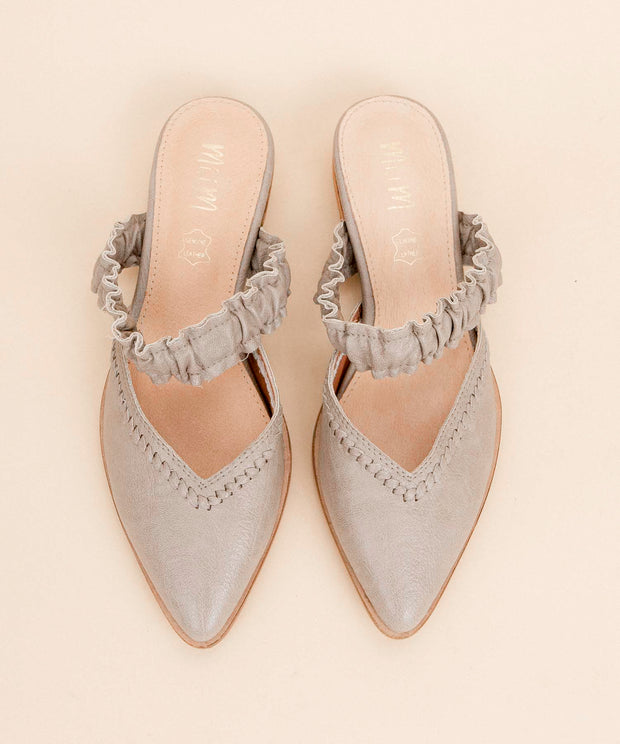 The Alicia grey Pointed Ruffle Strap Mules