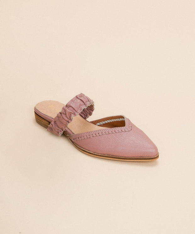 The Alicia pink Pointed Ruffle Strap Mules