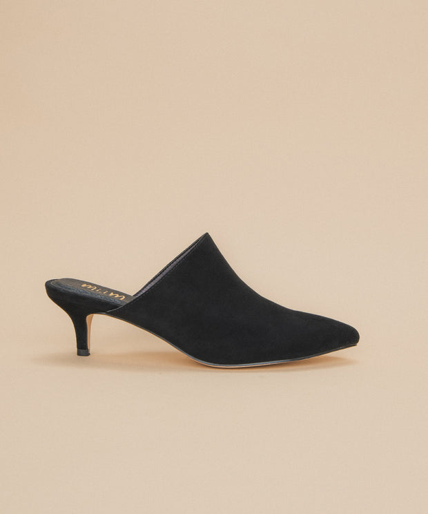 Anya black Pointed Kitten Heel Mule
