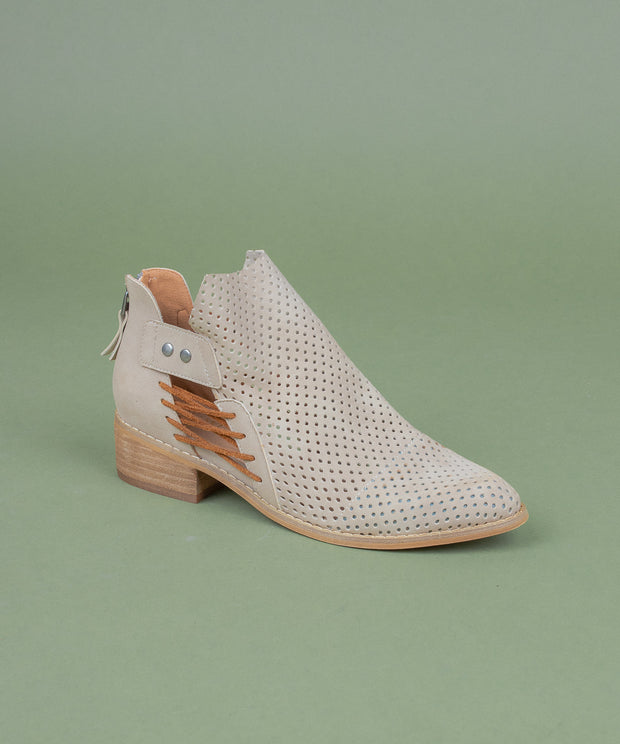 Ariel beige Mesh Faux Leather Booties