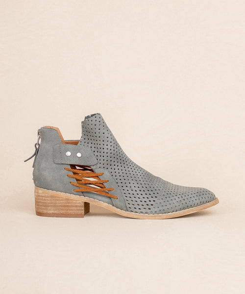 Ariel grey Mesh Faux Leather Booties