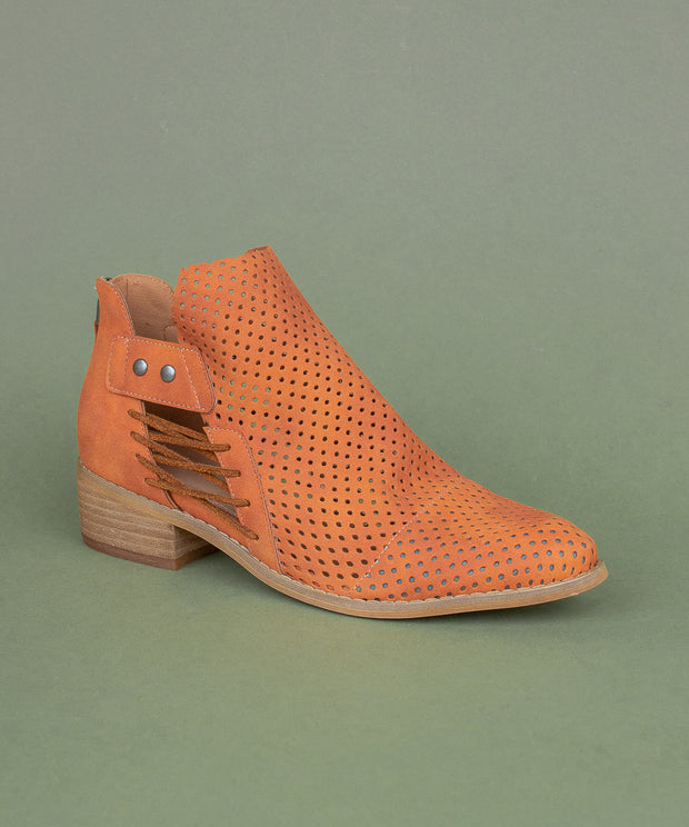 Ariel orange Mesh Faux Leather Booties