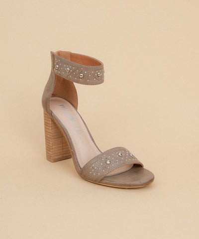 Audrey khaki Two Band Studded Sandal