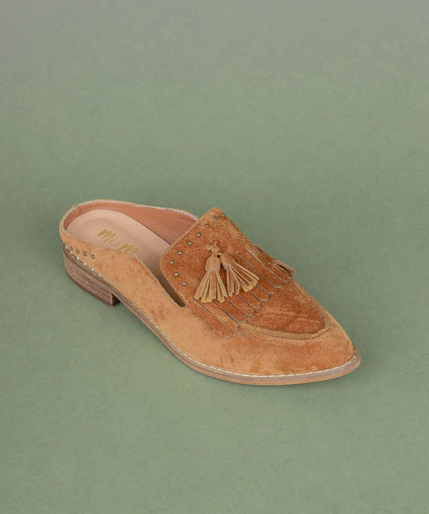 Berlin camel Tasseled Faux Suede Loafer Mules