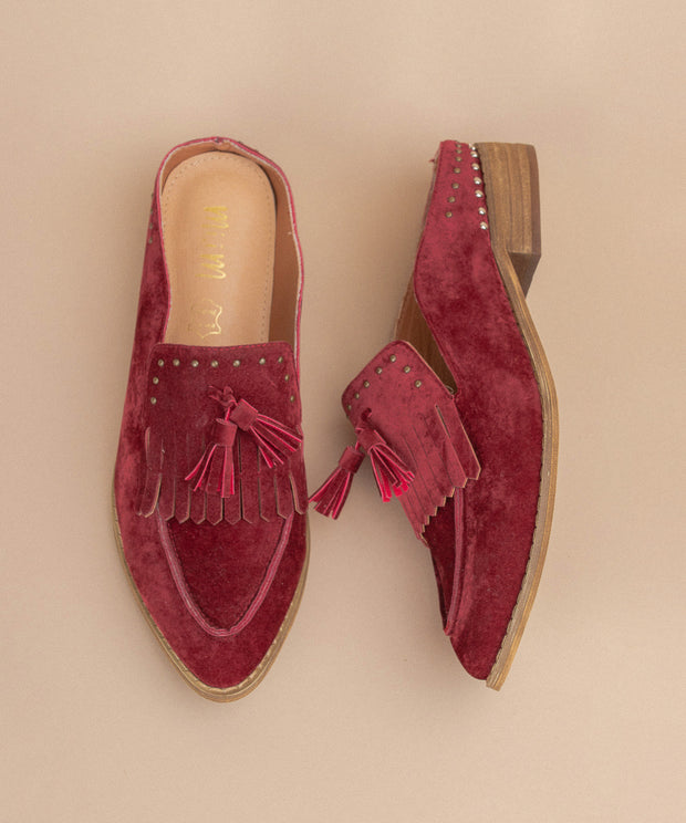 Berlin wine Tasseled Faux Suede Loafer Mules
