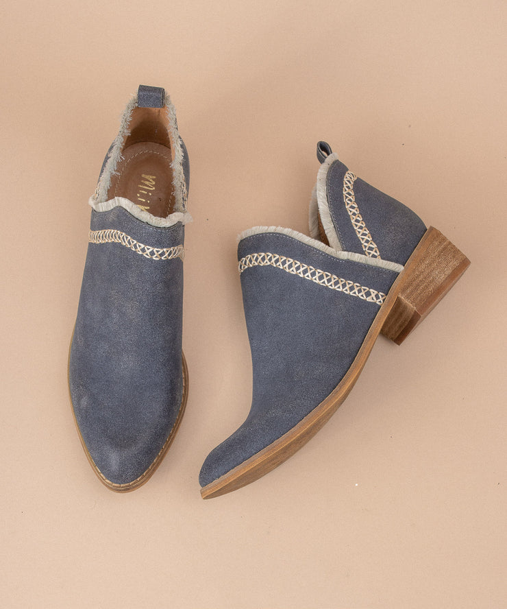 Bethany navy Modern Mocassin Booties