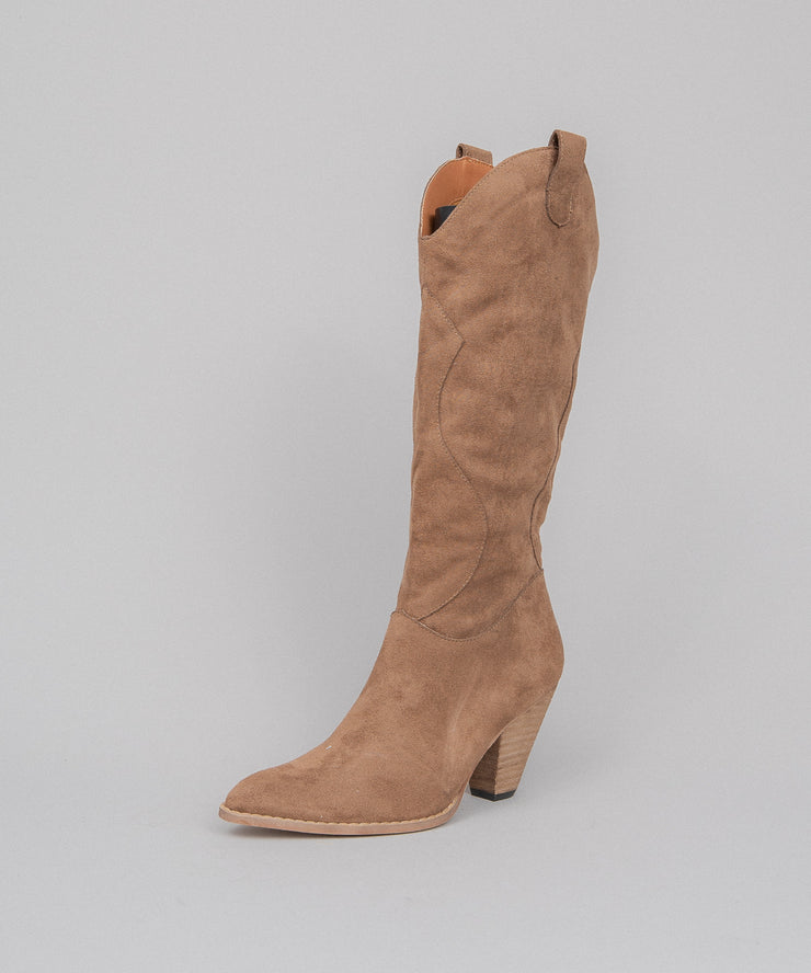 Bohemian camel Western Knee High Boot