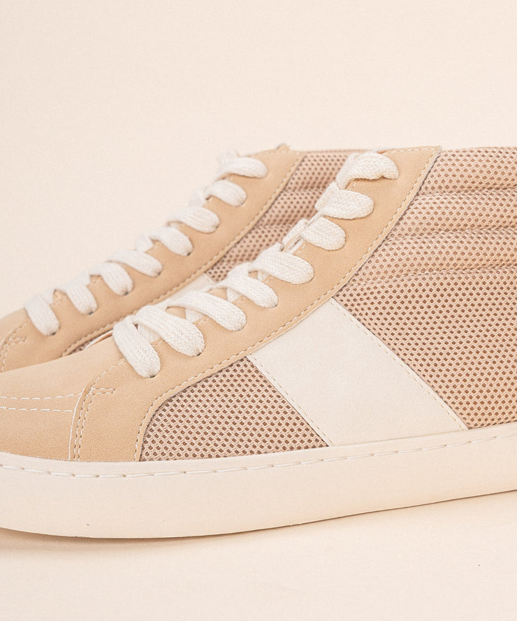Bree Almond | Perforated Hightop Sneaker