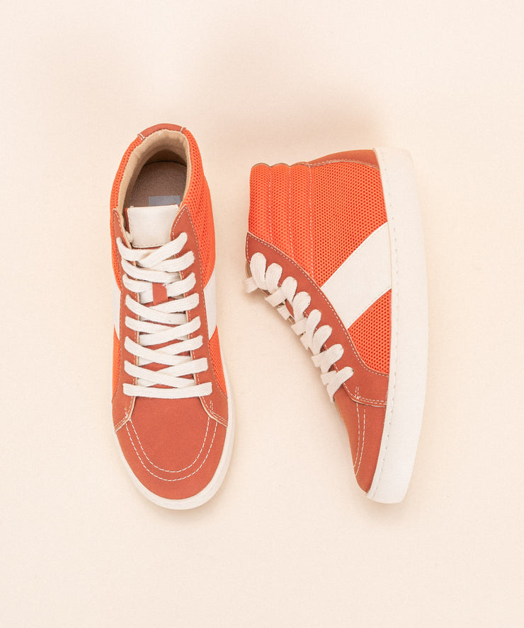 Bree Orange | Perforated Hightop Sneaker