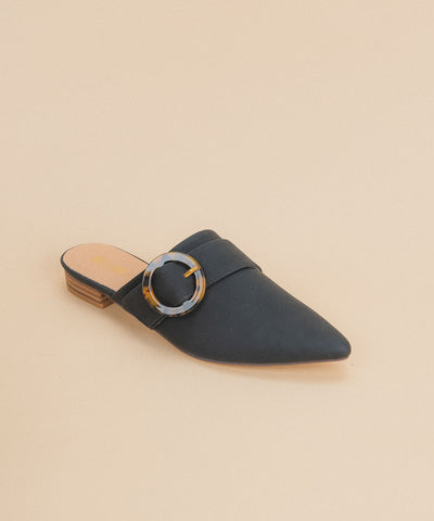 Bridgette Black | Buckle Pointed Mule