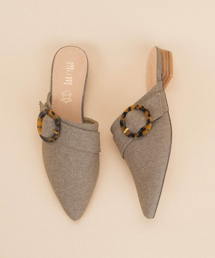 Bridgette Khaki | Buckle Pointed Mule