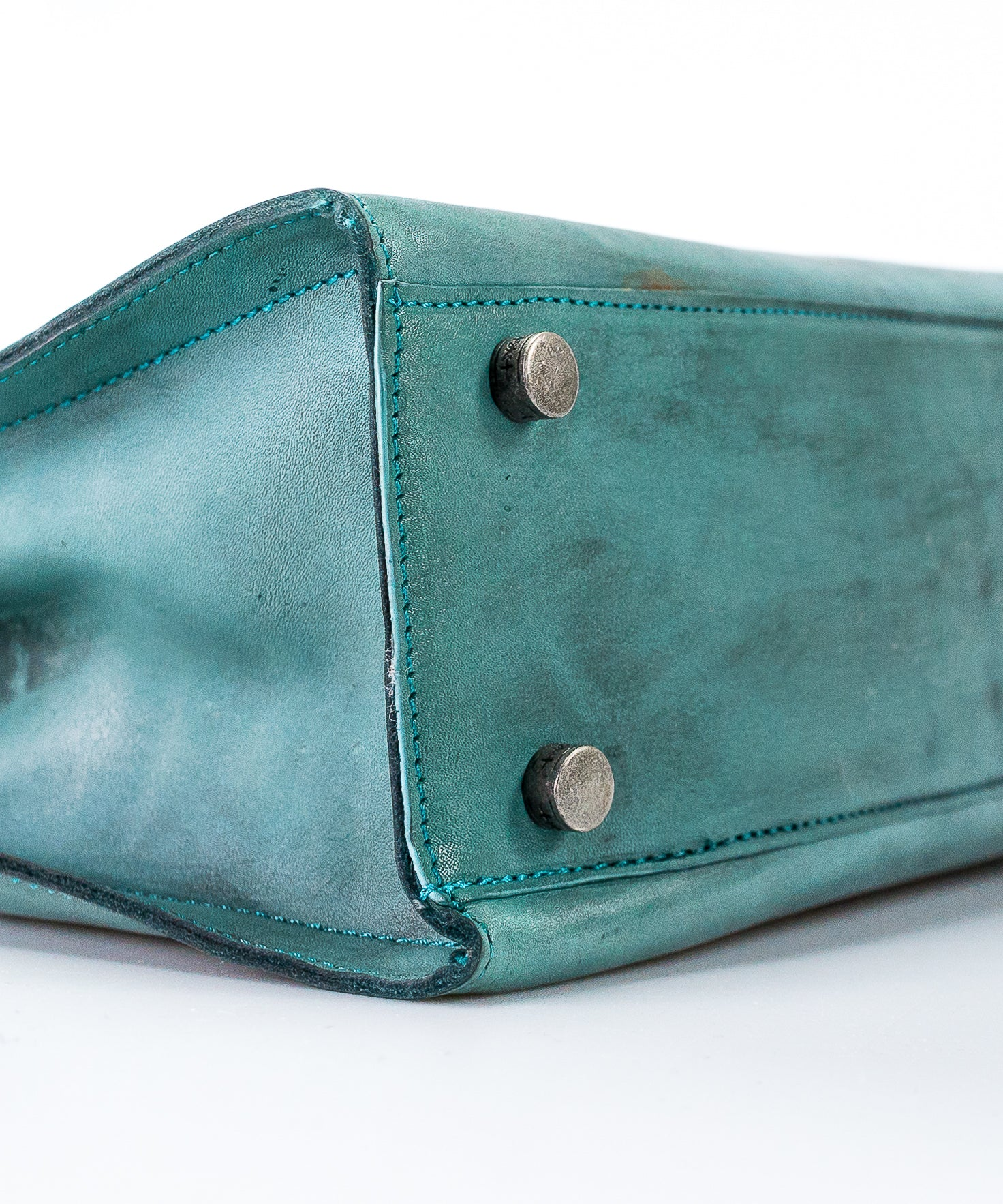Caritas turquoise-blue  Splash Effect Genuine Leather Tote
