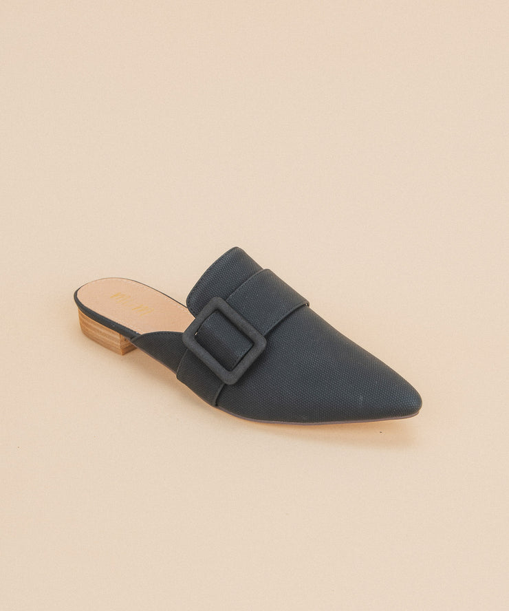 Caroline Black | Buckle Pointed Mule