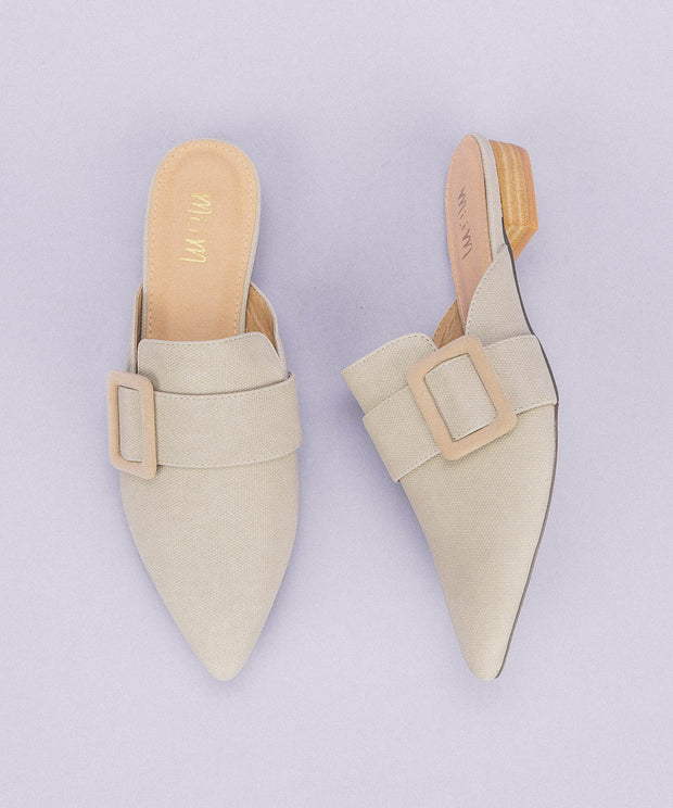 Caroline Grey | Buckle Pointed Mule