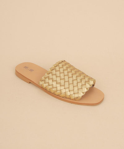 Charlotte gold Artisan Made Woven Slides