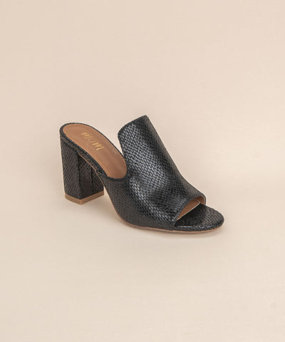 Crown Black | Snakeprint Chunky Heel