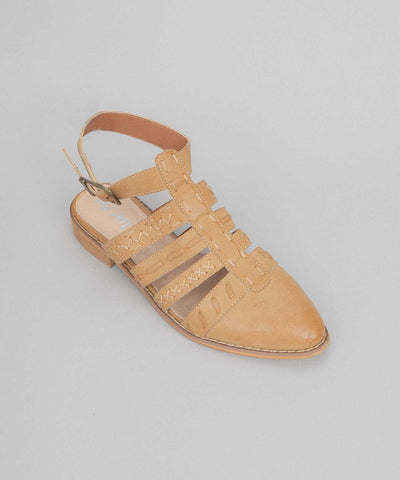 Eleanor camel Stitched Dutch-Style Flat