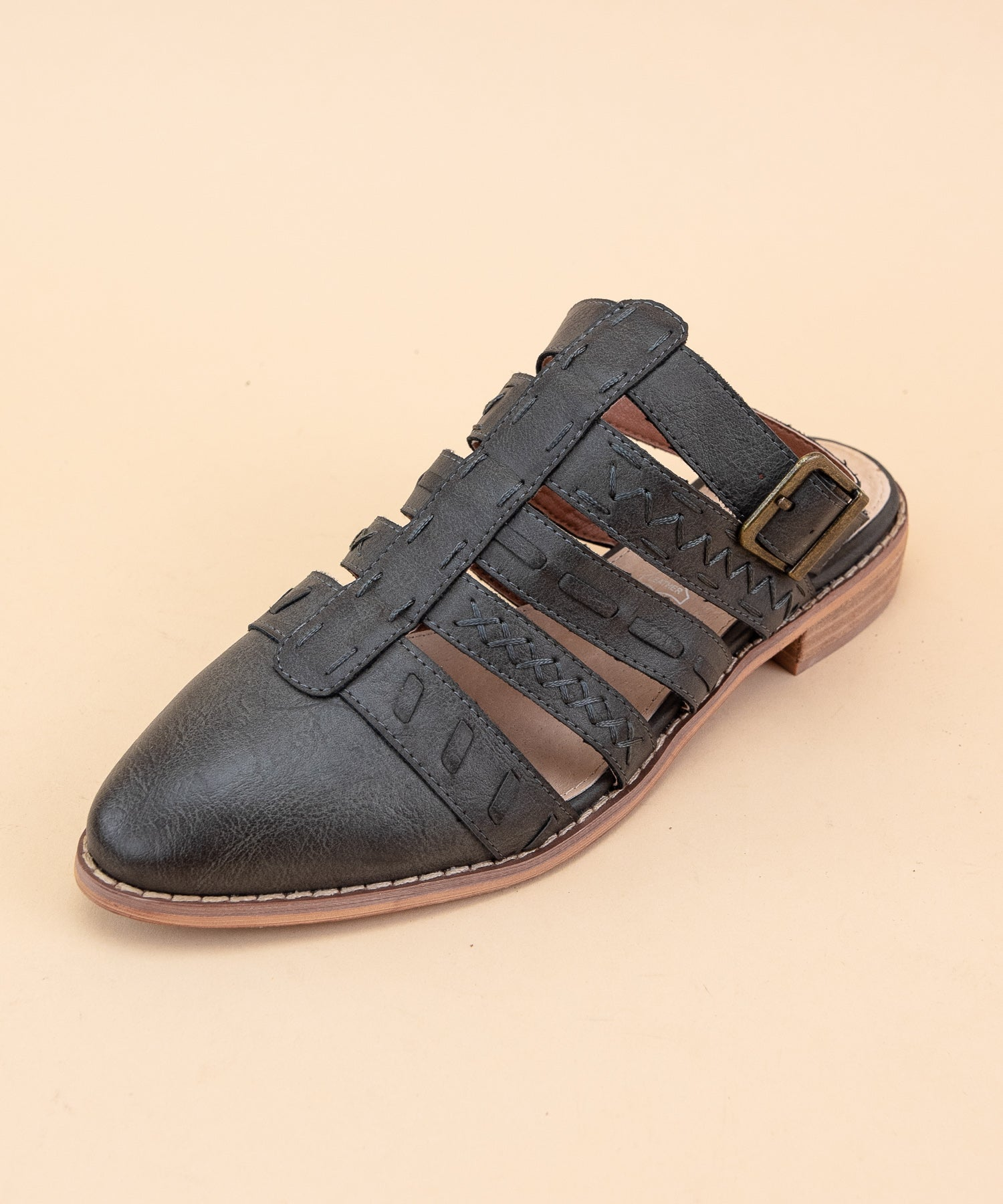 Eleanor dark-grey Stitched Dutch-Style Flat