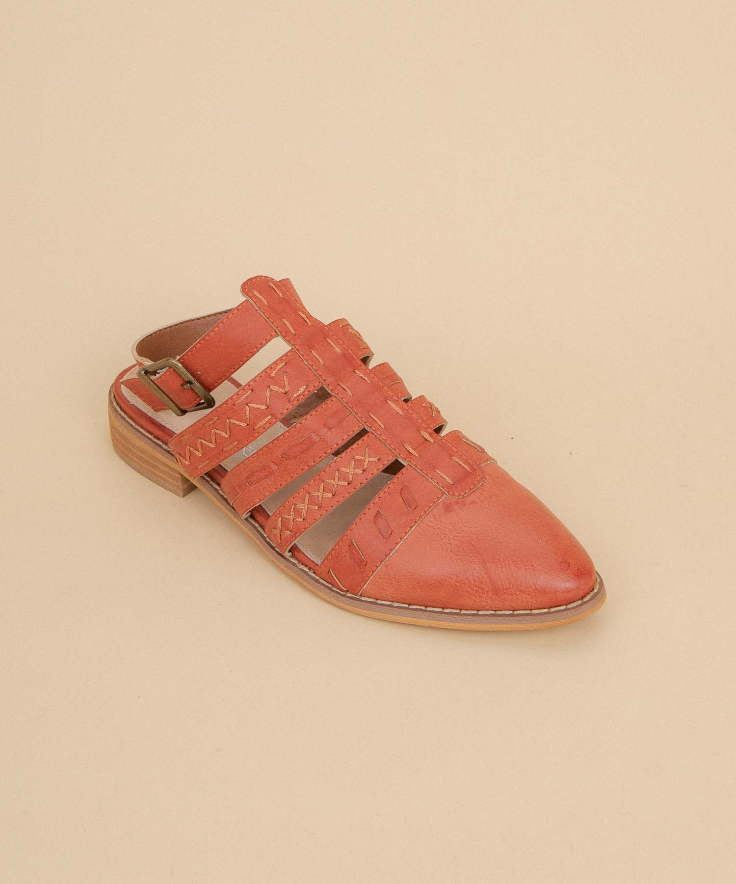 Eleanor watermelon Stitched Dutch-Style Flat
