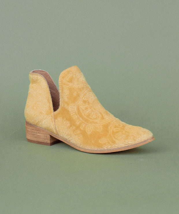 Ellen camel Faux Calf Hide Patterned Bootie