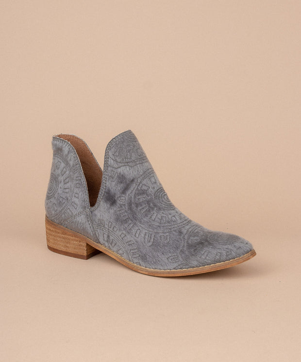 Ellen grey Faux Calf Hide Patterned Bootie