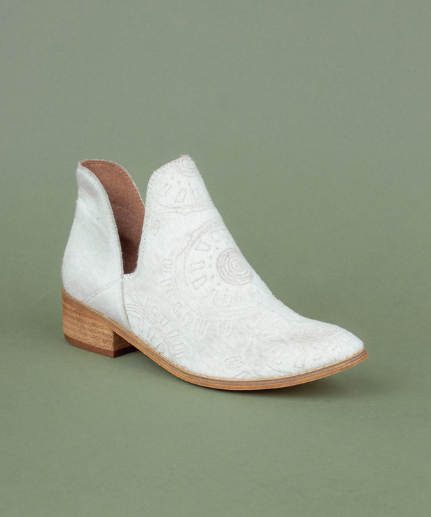 Ellen white Faux Calf Hide Patterned Bootie